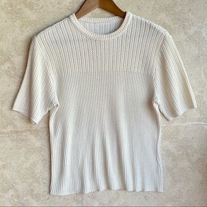 Tops - Women's Off-White Short Sleeve Knit Sweater Top